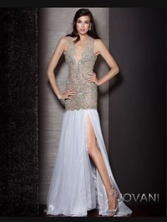Lace V-Bodice Slim Flare Pageant Prom Gown By Jovani 157713|PageantDesigns.com