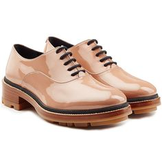 In wet-look patent leather, Jill Sander's beige oxfords are the most pristine way of channeling menswear-inspired cool Oxford Brogues, Oxford Flats, Oxfords, Lace Flats, Lace Up Shoes, Pink Flats, Shiny Shoes, Flat Shoes, Toe Shoes