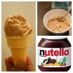 Healthy Nutella Ice Cream   Ingredients:  6 frozen, chopped bananas  3 tbsp nutella  1/4 teaspoon imitation vanilla extract  Servings: 6, Calories: 177.2, Weight Watchers Points: 3  1. Chop up and freeze 6 bananas overnight.  2. Add all ingredients into a food processor or blender.,Refreeze for at least an hour after mixing all the ingredients. Make this on a Sunday and keep it in my freezer all week
