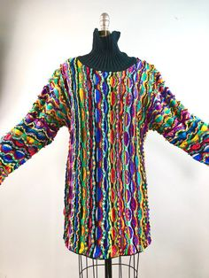 Coogi Vintage 80s 1980s Biggie Turtleneck Tunic Unisex Hipster Sweater  Cotton 40 bust label small 800843802