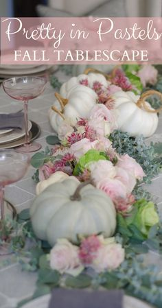 A Soft Pastel Fall Table Setting - Thanksgiving Decorations Diy Fall Table Settings, Thanksgiving Table Settings, Thanksgiving Parties, Thanksgiving Tablescapes, Thanksgiving Decorations, Setting Table, Fall Home Decor, Autumn Home, Holiday Decor