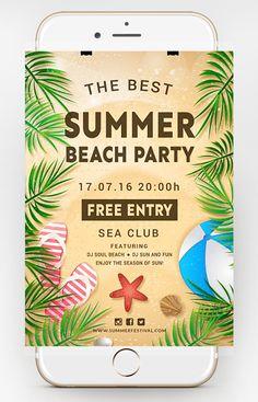 Free Beach Flyer Template - Dussk Design http://dusskdesign.com/shop/free-beach-flyer-template/