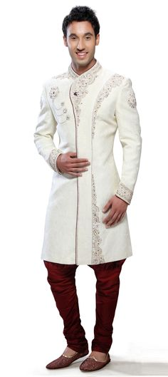 13870: White and Off White color family Sherwani. Groom Outfit, Groom Attire, Indian Groom Wear, Wedding Sherwani, Off White Color, Indian Sarees Online, Lehenga Saree, Men's Wardrobe, Salwar Suits