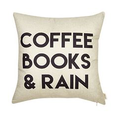 Fjfz Coffee Books and Rain Pillow Cover