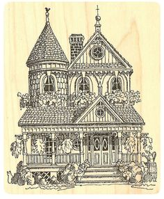 """{Single Count} Unique & Custom (3 1/2"""" by 4"""" Inches) """"Old Fashion Victorian House"""" Rectangle Shaped Genuine Wood Mounted Rubber Inking Stamp"""