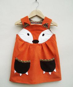 TODDLER DRESS Little Fox Girls dress orange by wildthingsdresses, $59.00