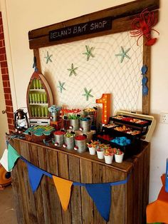 a cute fishing themed Birthday Birthday Party! The dessert table Bait Shop is awesome! See more party ideas and share yours at 1st Birthday Boy Party Ideas, Birthday Themes For Boys, Boy First Birthday, First Birthday Parties, Adult Birthday Ideas, Birthday Table, 30th Birthday, Baby Shower, Shower Cake