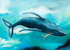 Humpback Whale, whale dream, swimming with whale, flying dream, flying whale door JahnaVashti op Etsy https://www.etsy.com/nl/listing/200536337/humpback-whale-whale-dream-swimming-with