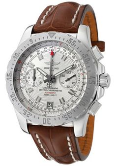 Breitling Men's Professional Automatic Mechanical Chrono Silver Dial Brown Crocodile. List price: $5,695