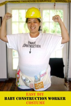 Easy DIY Baby Construction Worker Costume - cute costume for during pregnancy