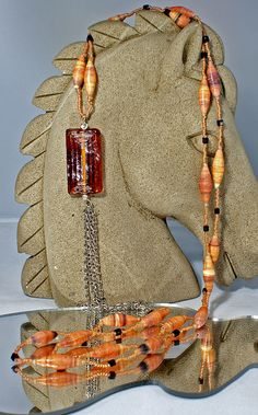 Amber - paper bead necklace £10.00