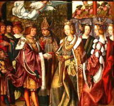 Auta Altapiece - Marriage of St. Ursula and Prince Conan - Lisbon Workshop - ca. 1522 - oil on oak. Renaissance Jewelry, Renaissance Costume, Renaissance Fashion, Renaissance Art, Gothic Fashion, Historical Costume, Historical Clothing, Female Clothing, Native American Population