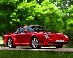 Auto Art  Porsche 959 Twin Turbo Coupe  Classic Car by ArtWorkz, $20.00