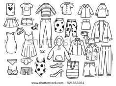 Find Hand Drawn Clothing Doodle Set Isolated stock images in HD and millions of other royalty-free stock photos, illustrations and vectors in the Shutterstock collection. Thousands of new, high-quality pictures added every day. Hipster Doodles, Hipster Drawings, Doodle Drawings, Cartoon Drawings, Easy Drawings, Doodle Art, Drawing Sketches, Cartoon Outfits, Dress Design Sketches