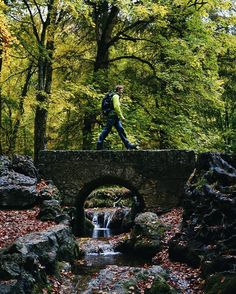 Bridge   Man nature is so awesome. Went on a little mission with @axelbrunstphoto today to take pictures of a waterfall and man the colours were crazy. Indian summer in Germany is beautiful.  #bridge #hike #waterfall #nature #trees #water #autumn #leaves #season #green #red #awesome #beautiful #mission #photobomb #model #mitmenschenimbildläuftsbessersagtemanmir #stuttgart #region #badenwürttemberg #germany #clouds by vbcara