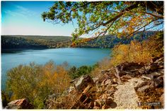 View of Devil's Lake from the newly rerouted Balanced rock trail near the Balanced Rock Wall.