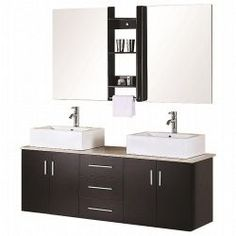 Design Element Ava 61 in. Vanity in Espresso with Marble Vanity Top in Cream and Mirror