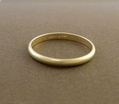 Thin Gold Wedding Band Ring Matte Finish 14k by someplaceelsewhere, $250.00