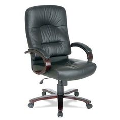 Lorell Hi-Back Executive Chair, 2 6-1/2 by 30 by 46-1/4-Inch, Black Leather