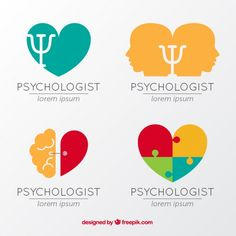 Set plano de logos de psicología coloridos Vector Gratis