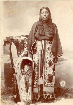 Lissie Woodward and her son, Oliver Woodward - Kiowa - circa 1900