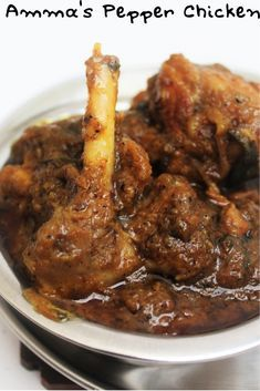 Pepper Chicken Masala is a South Indian spicy chicken semi gravy made with black pepper, red chilli and cumin seeds. Recipes With Chicken And Peppers, Spicy Chicken Recipes, Chicken Stuffed Peppers, Curry Recipes, Pepper Chicken, Veg Recipes, Tandoori Recipes, Recipies, Pollo Masala