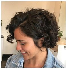 Curled Bob Hairstyle, Bob Haircut Curly, Wavy Bob Hairstyles, Short Curly Bob, Haircuts For Curly Hair, Curly Hair Cuts, Short Hair Cuts, Celebrity Hairstyles, Wedding Hairstyles