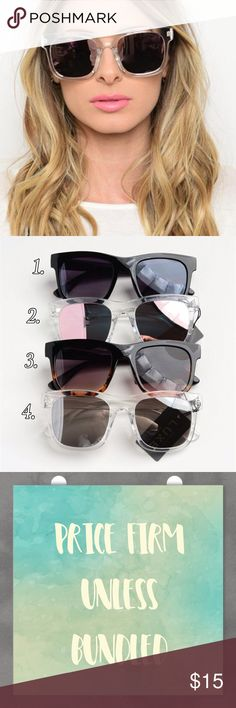 Fashion Mirrored Sunglasses Fashion Mirrored Sunglasses. Available in 4 colors. Price firm unless bundled. Bundle 3+ and save 15%! Accessories Sunglasses