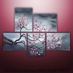 Abstract Modern Original Painting Asian Tree Art by Gabriela 44x32 black white red via Etsy.
