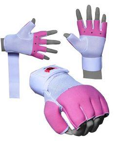 BOOM Ladies Neoprene Boxing Gel Gloves MMA Grappling Wrist Wrap Support Pink