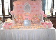 This pink candy buffet for a baby shower had a princess-tutu theme!