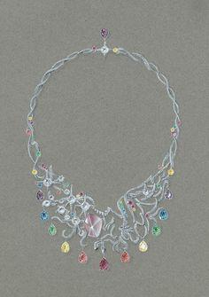 TONY FURION Collier haute joaillerie ' LICORNES ENCHANTEES '       joaillerie gouaché jewellery rendering jewels gouache