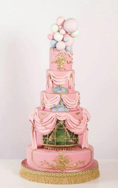 Pink Marie Antoinette wedding cake inspired by Le Petit Trianon at Versailles