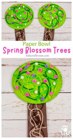 This Paper Bowl Spring Tree Craft is so pretty. Make gorgeous blossom trees from paper bowls and yarn! A lovely tactile spring craft for preschoolers. #kidscraftroom #kidscrafts #springcrafts #cherryblossom Easy Arts And Crafts, Easy Crafts For Kids, Toddler Crafts, Crafts To Do, Preschool Crafts, Art Activities For Kids, Spring Activities, Toddler Activities, Spring Projects