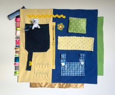Fidgit Activity Blanket Blue & Pale Yellow w/ Bear Alzheimer's | Dementia | Sensory by TheFidgitShoppe  #Gift #Alz