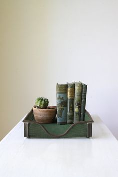 SOLD Vintage metal filing tray/ in and out by RetroandRosesvintage