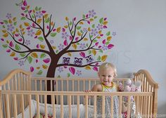 Girls Nursery Tree Decal Kids Wall Tree Decal Owls by PopDecors, $72.00