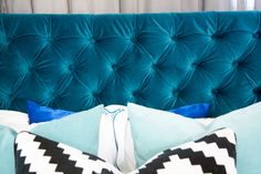 How We DIYed Our Velvet Diamond-Tufted Headboard - After unsuccessfully searching the world for a velvet headboard in the PERFECT shade of peacock, my husband a…