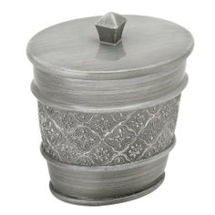 Zenith Products 7059697551 Gatsby Cotton Ball Holder, Antique Pewter by Zenith. $17.97. Includes coordinating lid to conceal contents. Measures 4-1/4-inch long by 3-1/4-inch wide by 4.88-inch high. Hand painted and durable resin construction. Coordinating gatsby collection accessories available. Stylish traditions with an antique pewter finish and decorative design element. Zenith bathwares lead the way in innovation, functionality, style and value. Zenith Products bathroom...