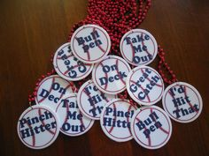Set of 12 Bleacher Bachelorette Party Baseball Necklaces with your choice of colors, beads,  and wording on Etsy, $30.00