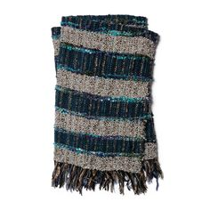 Hand-woven Quinn Striped Throw Blanket With Fringe