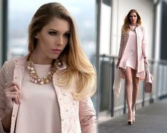 Lookbook: lux coat and dress. Old rose