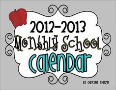 This freebie is a 2012-2013 Monthly School Calendar! The calendar is blank for you to use as a planner to pencil in your important meetings, events, and activities!