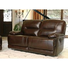 Abbyson Living Rio Reclining Hand Rubbed Leather Loveseat in Brown ** Want to know more, click on the image.