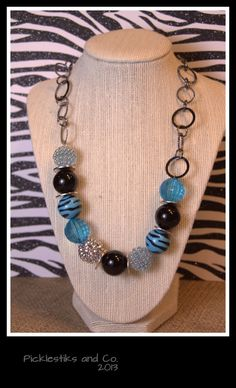 Hello Gorgeous Blue and Zebra Beaded Necklace by PickleStiksandCo, $42.00