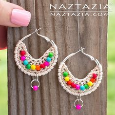 Crochet Boho Bead Earrings - Bohemian Beaded Earring - DIY Tutorial Free Pattern & YouTube Video by Donna Wolfe from Naztazia