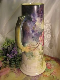 """MAGNIFICENT LUSCIOUS GRAPES"" Absolutely Gorgeous Antique LARGE CAC Ceramic Arts Company Belleek Grapes Hand Painted Tankard Spectacular Hei..."