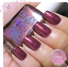 Glam Polish Carrie #alacqueredaffair Glittery shimmery polish in burgundy #halloween & Fall nails - bellashoot.com