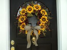 Fall Sunflower, Hydrangea, Berry, and Pinecone Wreath with Black Gingham Burlap Bow