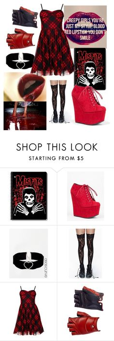 """""""creepy girls, your just my style"""" by creepypasta-music-anime-love ❤ liked on Polyvore featuring Qupid, ASOS Curve, Betsey Johnson and Les Cinq"""